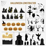 Halloween holiday constructor. Graphic template. Flat icons Stock Illustration