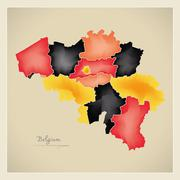 Belgium map artwork with national colours illustration Stock Illustration