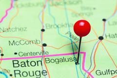 Bogalusa pinned on a map of Louisiana, USA Stock Photos