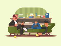 Psychologist man in office Stock Illustration