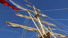 Sailboat mast with Russian flag Stock Footage