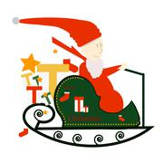Santa Claus Driving in a Sledge. Stock Illustration