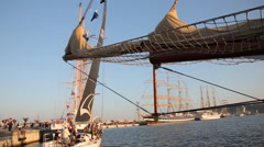 Sailing ships in port Varna at Black Sea Tall Ships Regatta 2016 Stock Footage