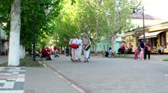 People go to the city worshiped Krishna, Hare Krishna members of the group of Stock Footage