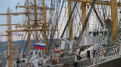 Rigging and masts of a sailing ship Stock Footage