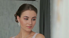 Pretty, young and sensual woman with beautiful make-up and elegant hairstyle Stock Footage