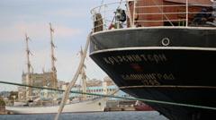 Russian sailing ship ''Krusenstern'' in port Varna Stock Footage