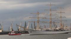 Tug and sailing ship maneuver Stock Footage