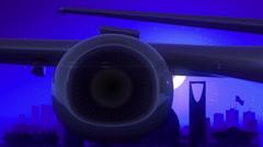 Riyadh Kingdom of Saudi Arabia Airplane Take Off Moon Night Blue Skyline Travel Stock Footage