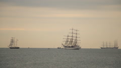 Tall ship in sea Stock Footage