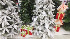 New Year's Artificial Fur-Trees in Snow Stock Footage