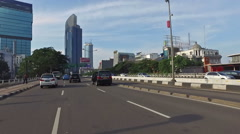 Point of view of a vehicle driving in Jakarta Stock Footage