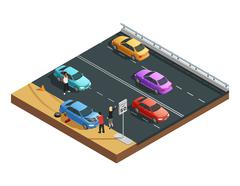 Car Accidents Composition Stock Illustration