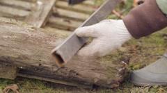 Cutting of metal balk Stock Footage