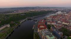 Prague and Vltava river, aerial view Stock Footage
