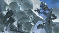 3D fantasy abstract blue background from strange shapes, 3D illustration Stock Illustration