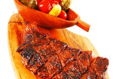 Beef steak on wood Stock Photos