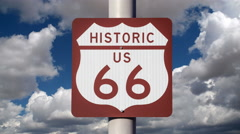 Historic US Route 66 Sign with Time Lapse Clouds Stock Footage