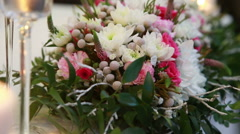 Beautiful flower decorations on wedding tables Stock Footage