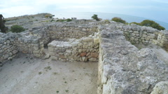 Stone wall ruins of the Greek town of Chersonese Stock Footage