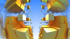 3D geometric shapes from cubes, 3D illustration Stock Illustration