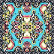 Authentic silk neck scarf or kerchief square pattern design in u Stock Illustration