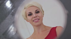 Pretty, young and sensual woman with beautiful make-up and short hairstyle Stock Footage