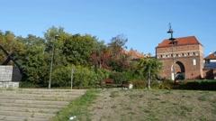 Monastery Gate of Holy Spirit in Torun, Poland Stock Footage