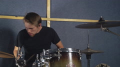 Man plays on the drums set Stock Footage
