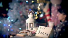 4k Christmas and New Year Holiday Letter and Cookies for Santa Stock Footage
