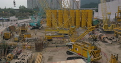 Works on construction site in Hong Kong Stock Footage