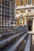 Lion statue of San Lorenzo Cathedral, Duomo di Genoa, Liguria, Italy Stock Photos