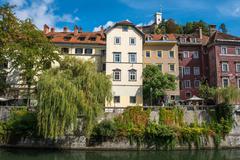 Ljubljana city view with Ljublianica river, Slovenia Stock Photos