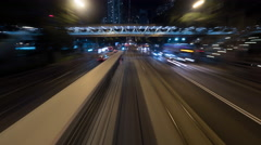 Timelapse of night ride by double-decker tram in Hong Kong Stock Footage