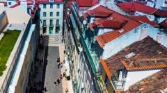 Historic street Rua do Carmo in Lisbon, Portugal Stock Footage