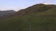Long aerial view over Pen-Y-Pass, Snowdonia. Stock Footage
