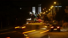 Time Lapse of Busy City Traffic at Night, Alicante, Costa Blanca, Spain Stock Footage