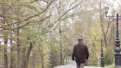 The first snow in a park Stock Footage