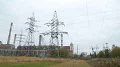 Thermal power plants. Old dirty power from high-voltage lines, the overall plan Stock Footage