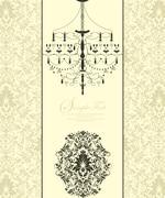 Vintage invitation card with ornate elegant abstract floral design Stock Illustration