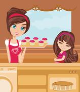 Mother and daughter Baking muffins Stock Illustration