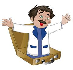 Vector of businessman popping out from a briefcase. Stock Illustration
