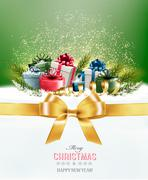 Holiday Christmas background with colorful gift boxes and a gold gift ribbon. Stock Illustration