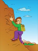 Boy Climbing a Mountain, illustration Piirros