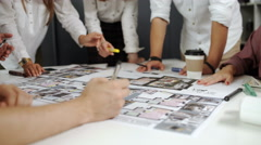 Team of architects people in group on construciton site check documents and Stock Footage