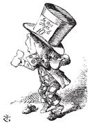 The Mad Hatter arrives hastily in court to testify - Alice's adventures in Wo Stock Illustration