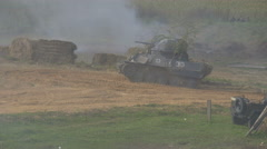 German tank goes on the attack, the second world war Stock Footage