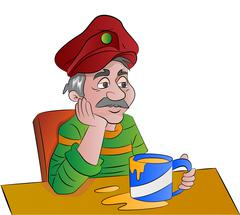 Man with a Cup of Drink, illustration Stock Illustration