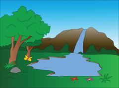Vector of waterfall. Stock Illustration