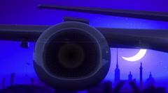Saint Petersburg Russia Airplane Take Off Moon Night Blue Skyline Travel Stock Footage